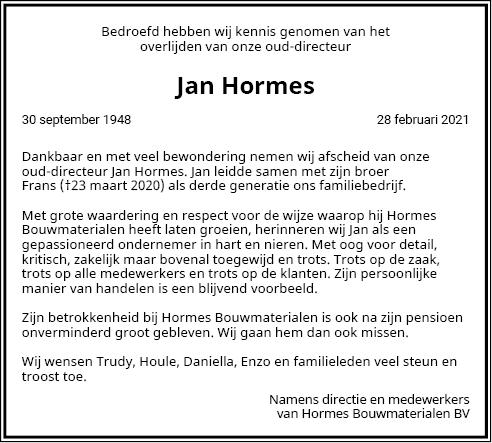 Advertentie Personeel Jan Hormes